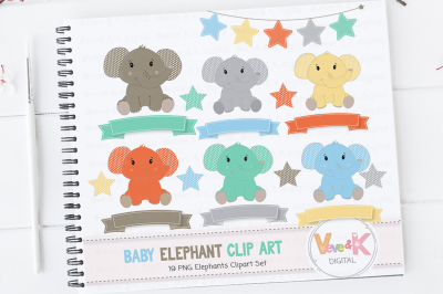 Cute Baby Elephants Clipart Set