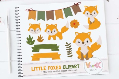 Cute Foxes Clipart Set | Fox Graphics
