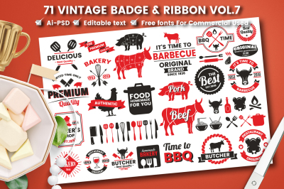 71 VINTAGE BADGE & RIBBON Vol.7