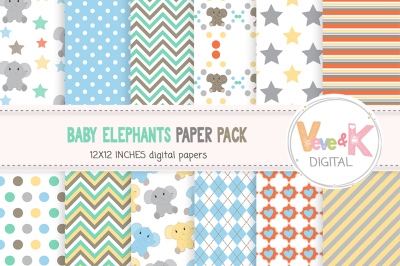 Cute Baby Elephants Digital Paper Pack