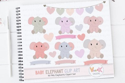 Cute Pink Elephants Clipart Set | Elephants Graphics