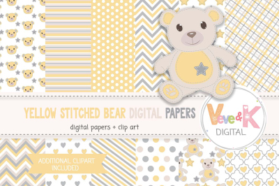 Stitched Teddy Bear Clipart and Digital Papers Set