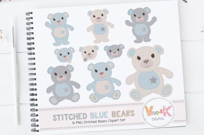 Blue Bears Clipart | Stitched Teddy Bears Clipart
