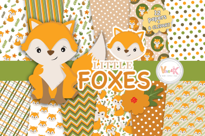 Foxes Clipart and Digital Papers Set