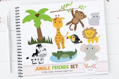 Safari Animals Clipart Set | Jungle Animals Graphics
