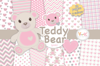 Pink Bears Clipart and Digital Papers Pack
