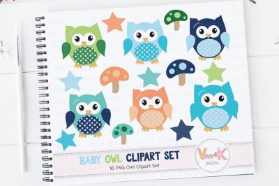 Blue Owls Clipart Set   Baby Boy Clipart