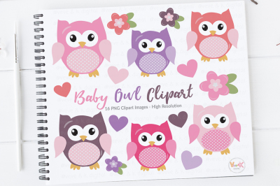 Pink Owls Clipart Set   Baby Girl Clipart