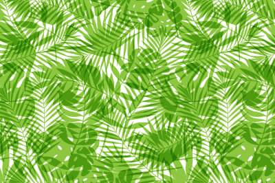 Summer tropical palm tree leaves seamless pattern