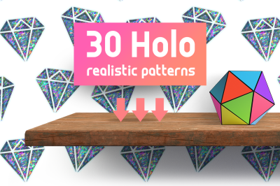 Realistic Holographic Stickers Patterns Set