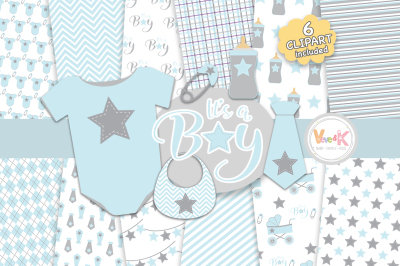 Baby Blue Clipart and Digital Papers Set | Baby Digital Papers