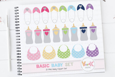 Multicolor Baby Clipart Set | Baby Items Clipart Set