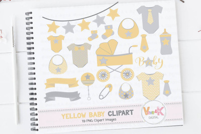 Yellow Baby Items Clipart Set | Baby Clipart