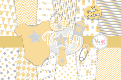 Neutral Baby Items Clipart | Yellow Baby Graphics
