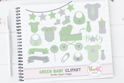 Green Baby Items Clipart Set