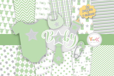 Green Baby Items Clipart and Digital Papers Set