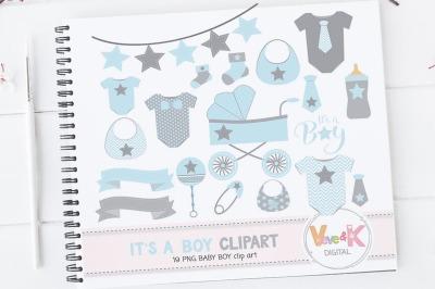 Newborn Baby Boy Clipart Set | Baby Graphics