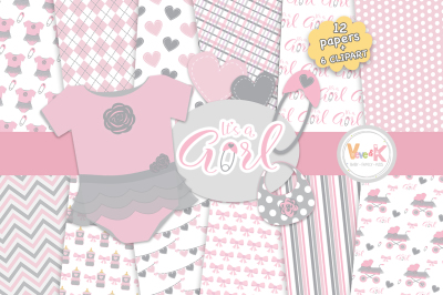 Pink Baby Girl Clipart Set | Newborn Baby Girl Clipart Set