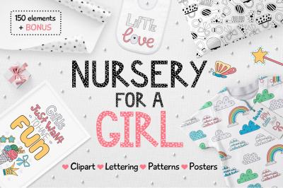 Nursery for a girl-Clipart&Lettering set