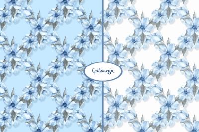 Blue floral patterns