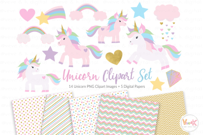 Unicorns Clipart and Digital Papers Set | Pastel Unicorns Clipart