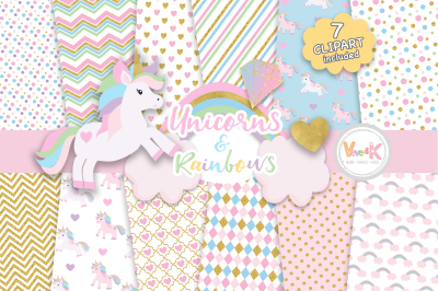 Pastel Unicorns Clipart and Digital Papers Set | Glitter Paper Pack