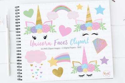 Unicorn Faces Clipart | Unicorn Graphics