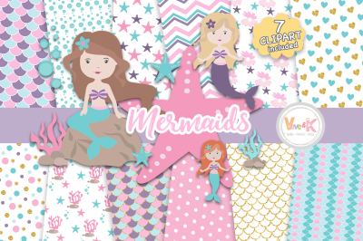 Mermaids Clipart and Digital Papers Set | Ocean Clipart