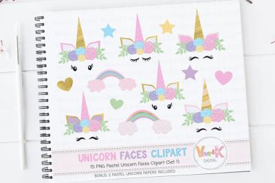 Unicorn Faces Clipart | Unicorn Faces Graphics