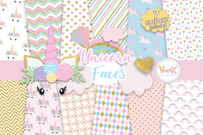 Unicorn Faces Clipart and Digital Papers Set | Unicorn Patterns