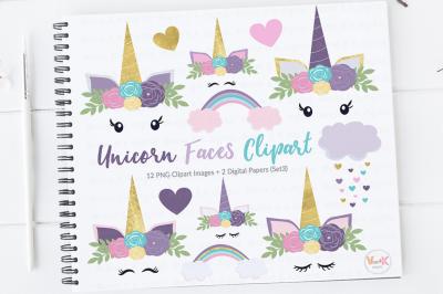 Purple Unicorn Clipart Set | Unicorn Faces Clipart