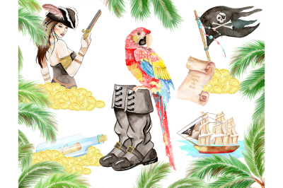 Watercolor Clipart,Pirates, Sexy Pirate, Parrot, Adventure