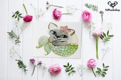 cat fish cute mermaid watercolor cat print nursery printable