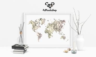 printable World map home decor
