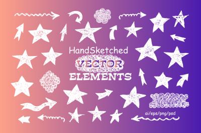 Handsketched Vector elements/arrows/stars
