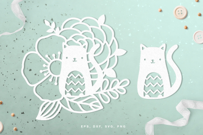 Floral cat digital cut file (svg, dxf, png, eps)
