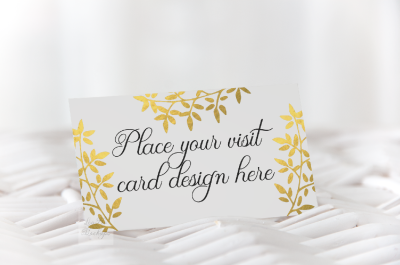 Business visit card mockup psd mock up minimal feminine 9x5cm &2F; 3.5x2""