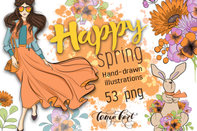 Happy Spring Hand Drawn Illustration Kit