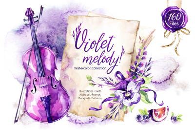 Violet Melody. Watercolor collection