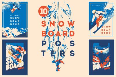 10 Snowboard Posters & T-Shirt print