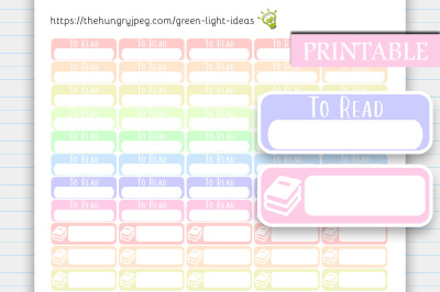 To Read Printable Planner Stickers, Book Stickers