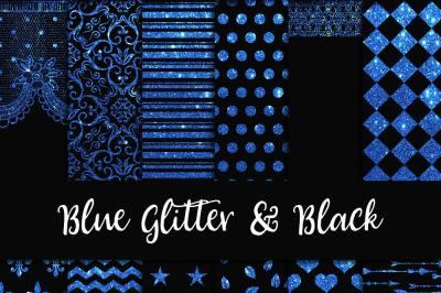 Blue Glitter & Black Digital Paper