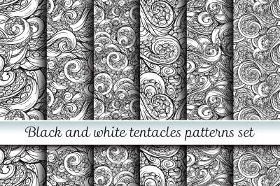 Black and white tentacles seamless patterns set