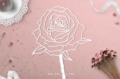 Floral rose flower digital cut file (svg, dxf, png, eps)