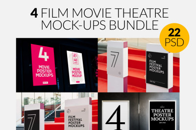 4 Film Movie Theatre Poster Mock-Ups Bundle
