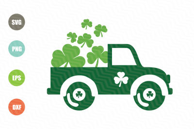 Saint Patricks Day Vintage Old Truck SVG