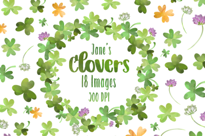 Watercolor Clover Clipart