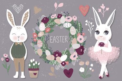 Happy Easter. Bunnies, eggs, flowers