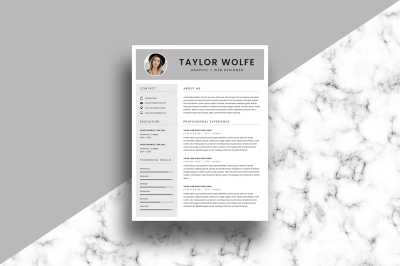 Resume/CV Template - 3 Page - Taylor