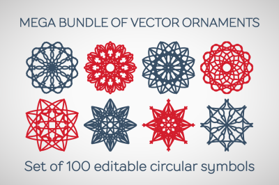 100 Editable Vector Ornaments